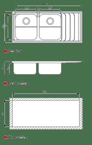 ابعاد سینک استیل البرز مدل 734