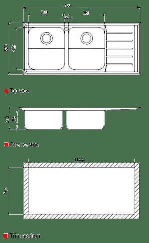 ابعاد سینک استیل البرز مدل 735