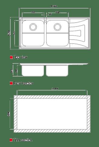 ابعاد سینک استیل البرز مدل 736