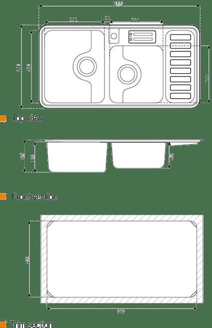 ابعاد سینک استیل البرز مدل 812