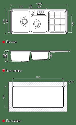 ابعاد سینک استیل البرز مدل 815