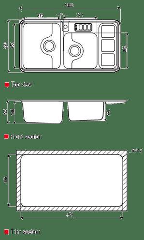 ابعاد سینک استیل البرز مدل 813