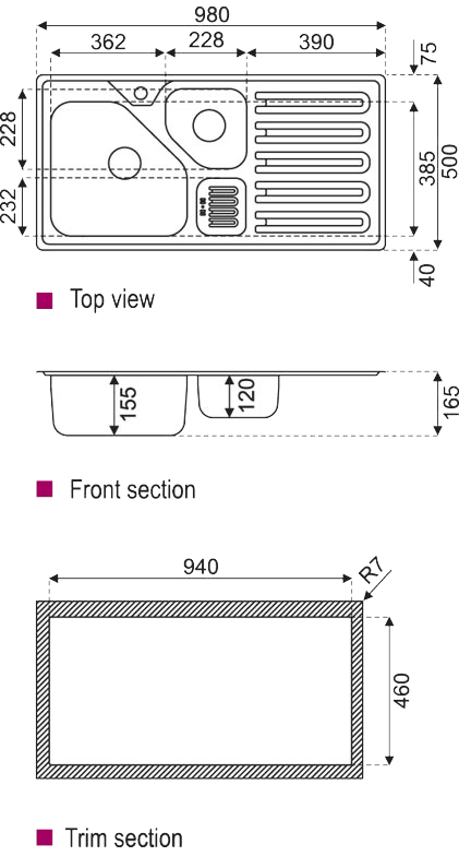 ابعاد سینک استیل البرز مدل 824