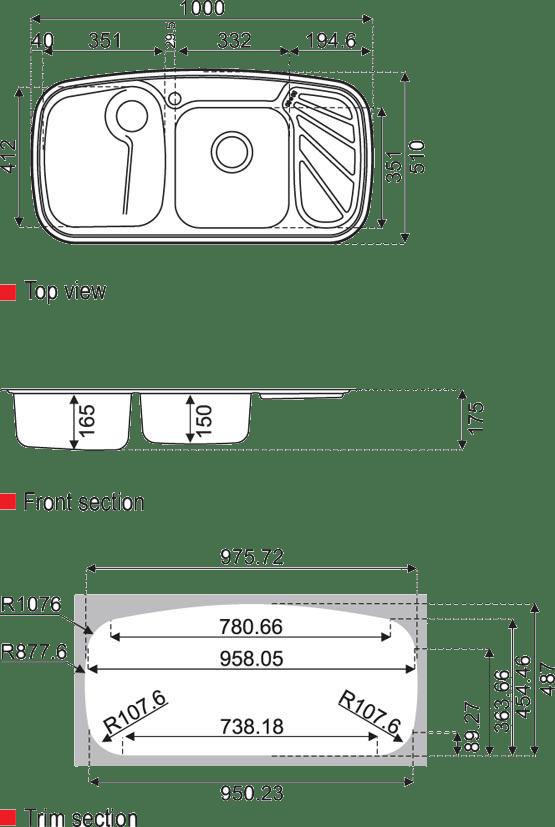ابعاد سینک استیل البرز مدل 611