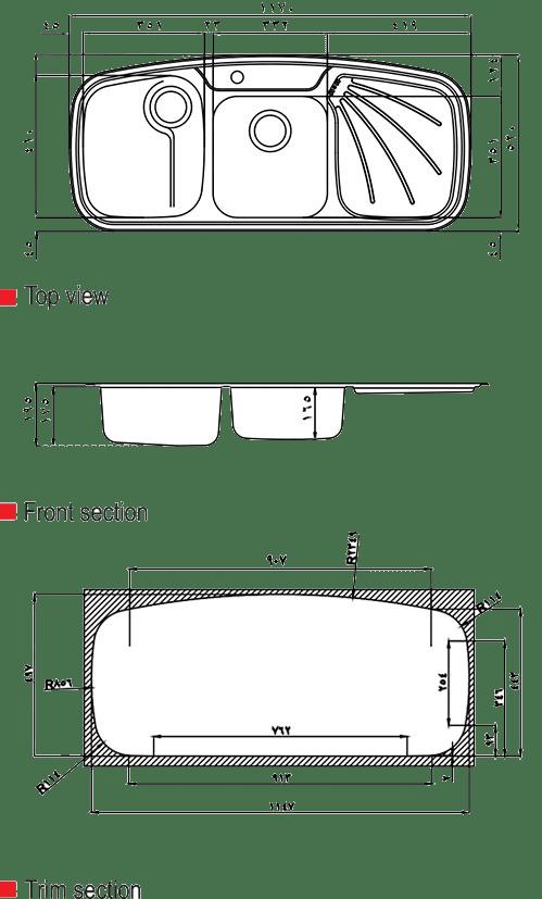 ابعاد سینک استیل البرز مدل 614