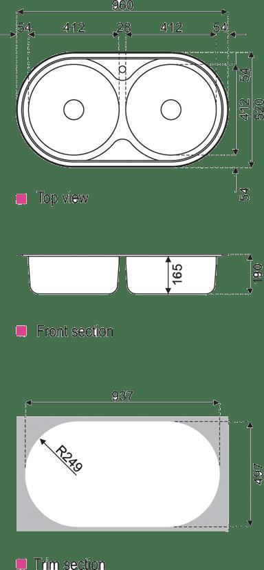 ابعاد سینک استیل البرز مدل 750