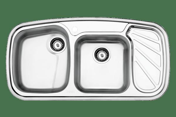 سینک دو لگنه توکار استیل البرز مدل 611 با جا مایع استیل