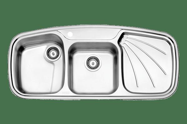 سینک دو لگنه توکار استیل البرز مدل 614 با جا مایع استیل